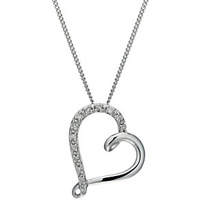 9ct White Gold Diamond Heart Pendant - Product number 1664751