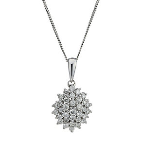9ct White Gold 1/3 Carat Diamond Cluster Pendant - Product number 1664778