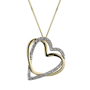 9ct Gold 1/10 Carat Diamond Double Heart Pendant - Product number 1664794
