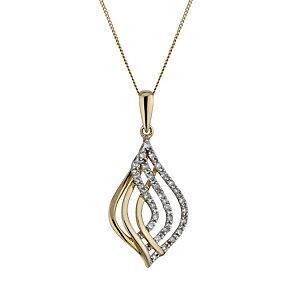 9ct Gold 1/10 Carat Diamond Open Teardrop Pendant - Product number 1664808