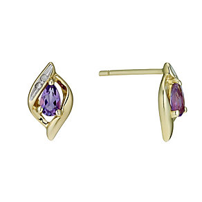9ct Gold Amethyst & Diamond Stud Earrings - Product number 1664824