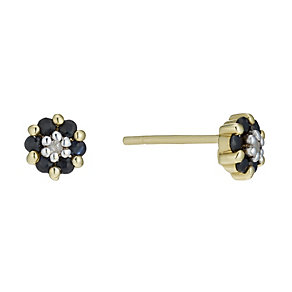 9ct Gold Sapphire & Diamond Stud Earrings - Product number 1664840