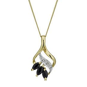 9ct Gold Sapphire & Diamond Pendant - Product number 1664875