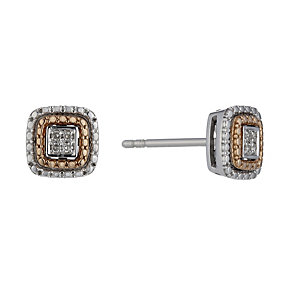 Sterling Silver & 9ct Rose Gold Diamond Stud Earrings - Product number 1665006