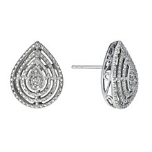 Sterling Silver Diamond Pear Shaped Stud Earrings - Product number 1665022