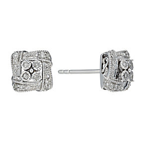 Sterling Silver 10 Point Diamond Square Stud Earrings - Product number 1665049