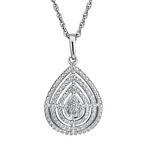 Sterling Silver Diamond Pear Shaped Pendant - Product number 1665065