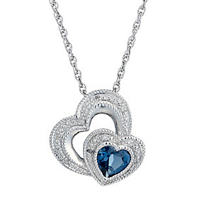 Candy Hearts Silver London Blue Topaz & Diamond Pendant - Product number 1665073