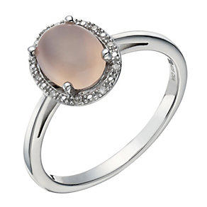 Sterling Silver Agate & Diamond Ring - Product number 1665197