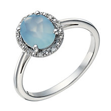 Sterling Silver Blue Chalcedony & Diamond Ring - Product number 1665480