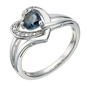 Candy Hearts Silver London Blue Topaz & Diamond Heart Ring - Product number 1666460