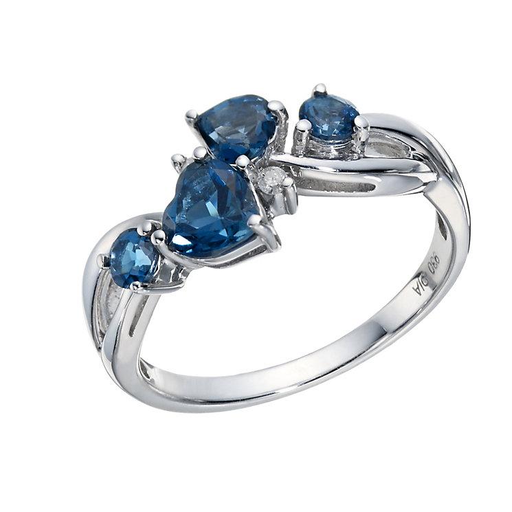 Argentium Silver London Blue Topaz & Diamond Eternity Ring - Product number 1666592