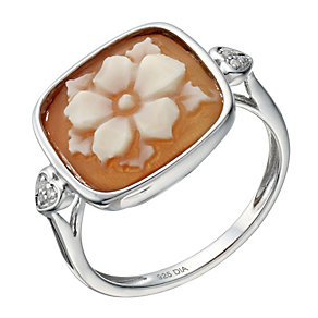 Sterling Silver Diamond Set Cameo Ring - Product number 1666746