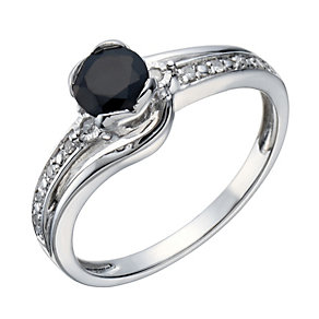 Sterling Silver Rhodium Plated Sapphire & Diamond Ring - Product number 1666886