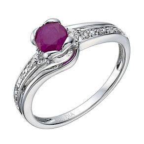 Sterling Silver Rhodium Plated Ruby & Diamond Ring - Product number 1667025
