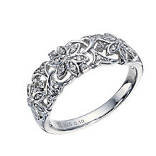 Sterling Silver 1/10 Carat Diamond 3 Flower Eternity Ring - Product number 1667319