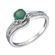 Sterling Silver Rhodium Plated Emerald & Diamond Ring - Product number 1667440