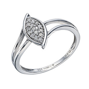 Sterling Silver 0.12 Carat Diamond Cluster Marquise Ring - Product number 1667572