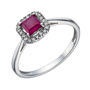 Sterling Silver Rhodium Plated Treated Ruby & Diamond Ring - Product number 1667718