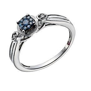 Cherished Argentium Silver 1/10ct Treated Blue Diamond Ring - Product number 1668226