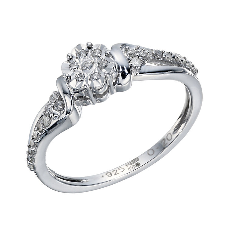 Sterling Silver 1/5 Carat Diamond Cluster Flower Ring - Product number 1668676