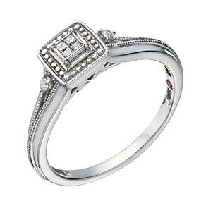 Cherished Argentium Silver Diamond Princessa Ring - Product number 1668803