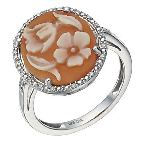 Sterling Silver & Diamond Cameo Ring - Product number 1669222