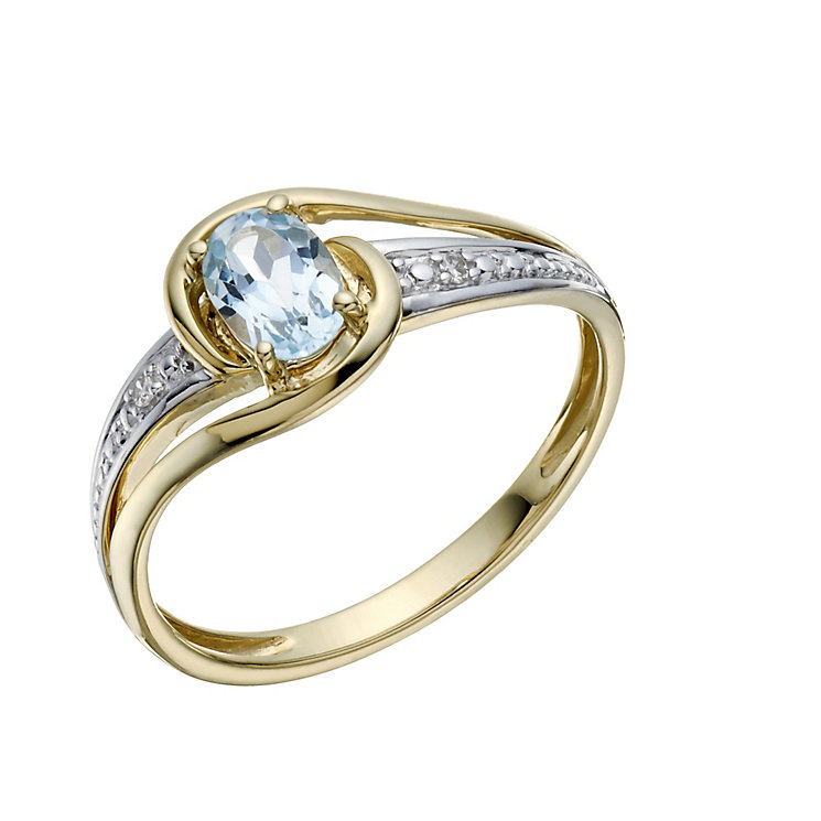 9ct Gold Blue Topaz & Diamond Ring - Product number 1669370