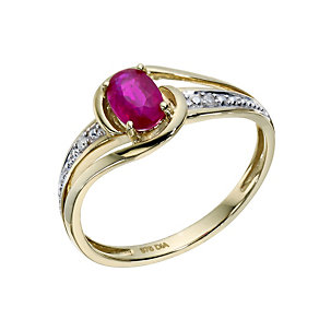 9ct Yellow Gold Treated Ruby & Diamond Ring - Product number 1669508
