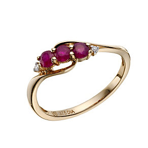 9ct Rose Gold 3 Stone Ruby & Diamond Ring - Product number 1669753