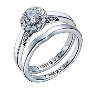 The Forever Diamond Palladium 950 1/2 Carat Diamond Ring Set - Product number 1670182