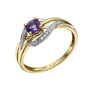 9ct Gold Amethyst & Diamond Ring - Product number 1670638