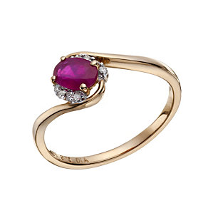 9ct Rose Gold Ruby & Diamond Ring - Product number 1671170