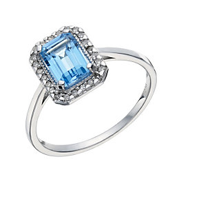 9ct White Gold Baguette Blue Topaz & 1/10 Carat Diamond Ring - Product number 1671456