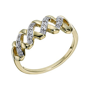 9ct Gold Diamond Eternity Cross Ring - Product number 1671731