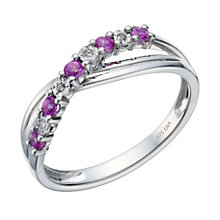 9ct White Gold Pink Sapphire & Diamond Ring - Product number 1672479