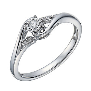 9ct White Gold Diamond Solitaire Ring - Product number 1672614