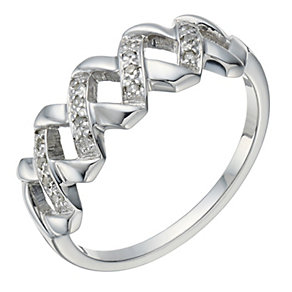 9ct White Gold Diamond Criss Cross Eternity Ring - Product number 1672754
