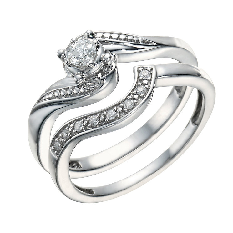 Argentium Silver 0.15 Carat Diamond Bridal Ring Set | H.Samuel