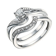Argentium Silver 0.15 Carat Diamond Bridal Ring Set - Product number 1672886