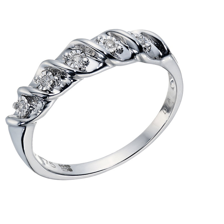 9ct White Gold 5 Stone Diamond Eternity Twist Ring - Product number 1673130