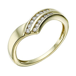 9ct Gold 15 Point Diamond Wishbone Eternity Ring - Product number 1673270