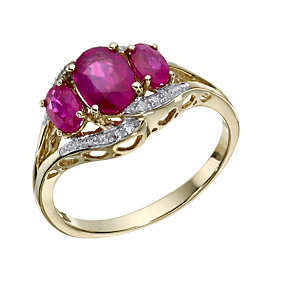 9ct Gold 3 Stone Treated Ruby & Diamond Ring - Product number 1673408