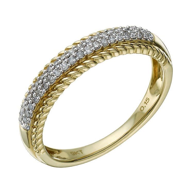 9ct Gold & Rhodium Plated 15 Point Diamond Eternity Ring - Product number 1673521