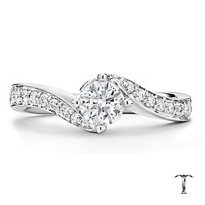 Tolkowsky 18ct white gold 1.00ct I-I1 diamond twist ring - Product number 1673653