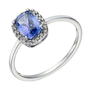 9ct White Gold Tanzanite & 10 Point Diamond Ring - Product number 1673793