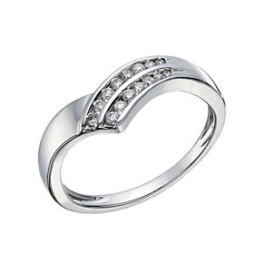 9ct White Gold 0.15 Carat Diamond Wishbone Eternity Ring - Product number 1674064