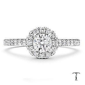 Tolkowsky 18ct white gold 0.75ct I-I1 diamond halo ring - Product number 1674455