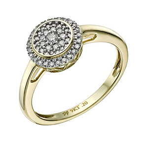 9ct Gold 1/5 Carat Diamond Round Cluster Ring - Product number 1674862