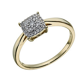 9ct Gold 0.15 Carat Diamond Square Cluster Ring - Product number 1675176